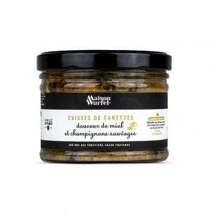 Cuisses de canettes douceur de miel et champignons sauvages
